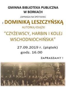 Spotkanie z Dominiką Leszczyńską @ Borki, Gminna Biblioteka Publiczna