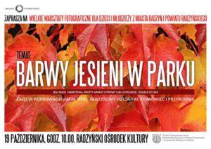 """Warsztaty fotograficzne """"Barwy jesieni w parku"""" @ Park miejski"""