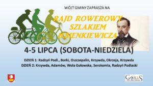 Rajd Rowerowy szlakiem Sienkiewicza @ Urząd Gminy Radzyń (wyjazd)