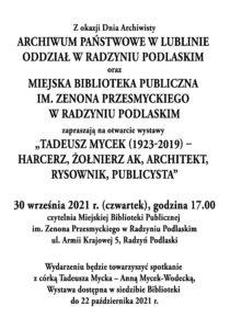 Wystawa o Tadeuszu Mycku @ Miejska Biblioteka Publiczna