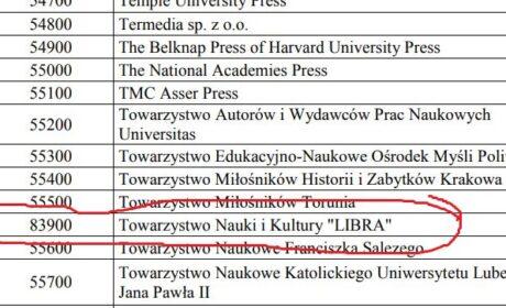 Towarzystwo Nauki i Kultury Libra na liście ministerialnej